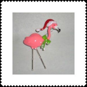 Santa Hat Flamingo Pin/ Brooch